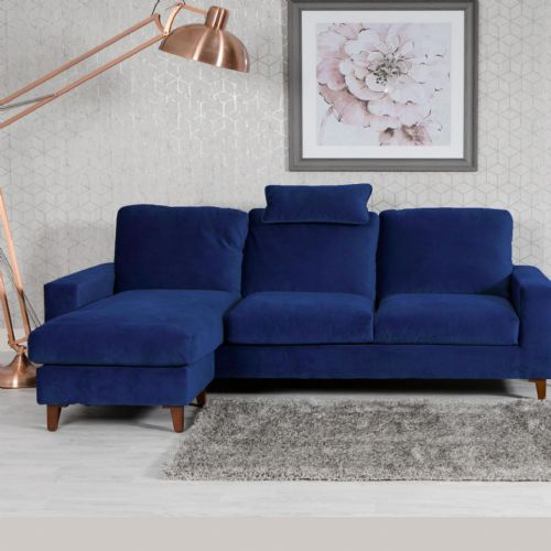 Home Essential NEL-309 - Plush Velvet Blue Chaise